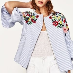 Zara Floral Embroidered Seersucker Striped Jacket